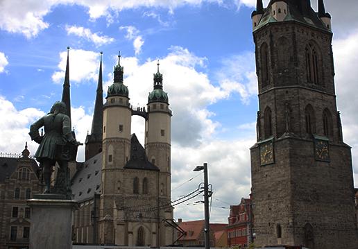 Ausblick auf dem Marktplatz in Halle (Saale)